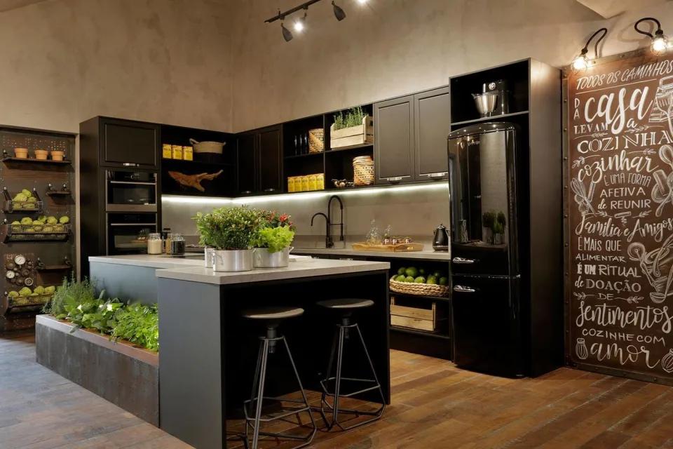 cozinha com ilha industrial erica salgueiro casacor 2017