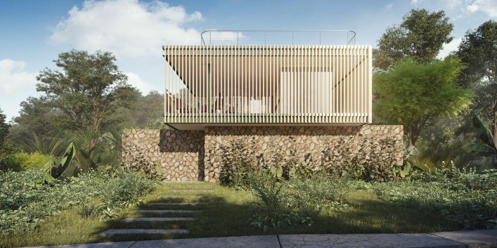 fachada com pedras no piso inferior, grama e ripas de madeira clara como revestimento da parede