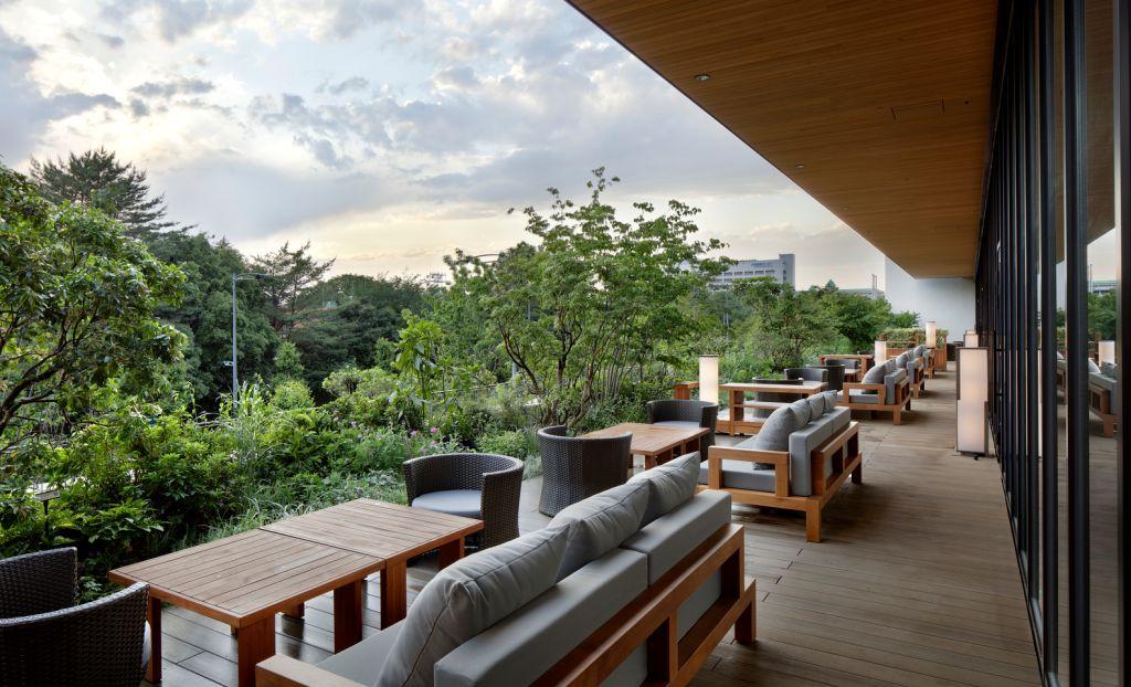 Deck com sofás mesas e poltronas com vista para exuberante área verde do parque