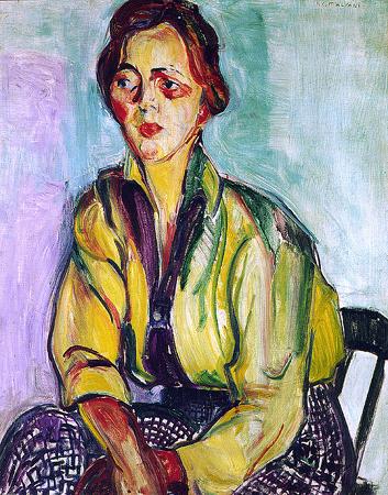 Obra A Estudante de Anita Malfatti. No quadro uma jovem sentada em uma cadeira e o ambiente com cores de verde, roxo e azul