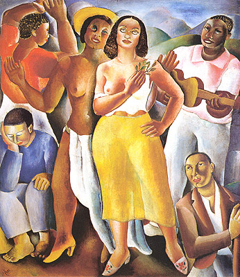 Obra Samba de Di Cavalcanti apresenta pessoas reunidas com roupas coloridas.