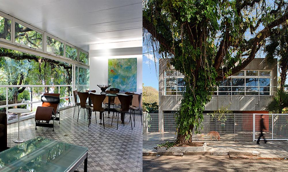casa grassi de paulo mendes da rocha. São duas fotos. A primeira é uma sala de estar com jantar integradas e a segunda fachada da residência em concreto