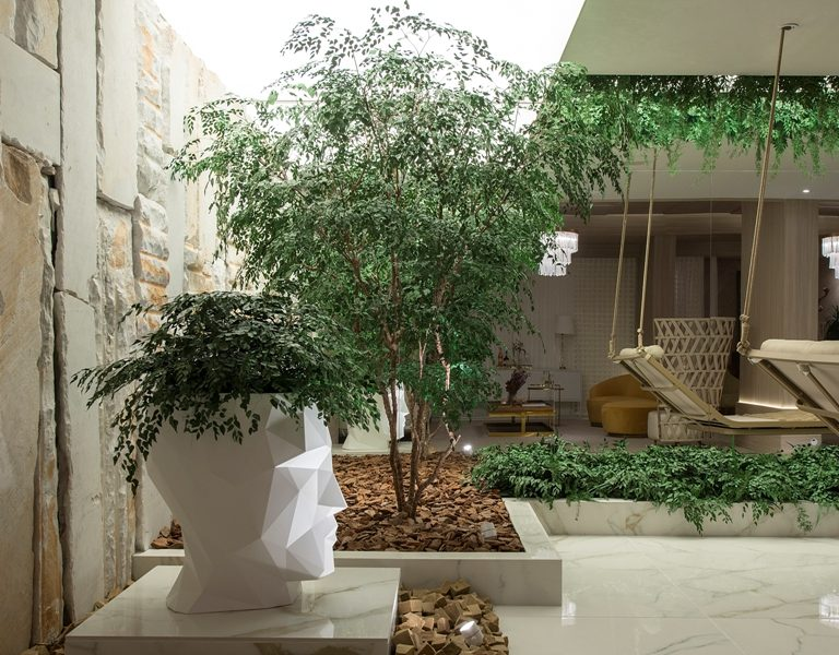 Plantas na área externa de um empreendimento presentes em uma pequena árvore e um vaso em formato de cabeça humana geométrico que abriga plantas também