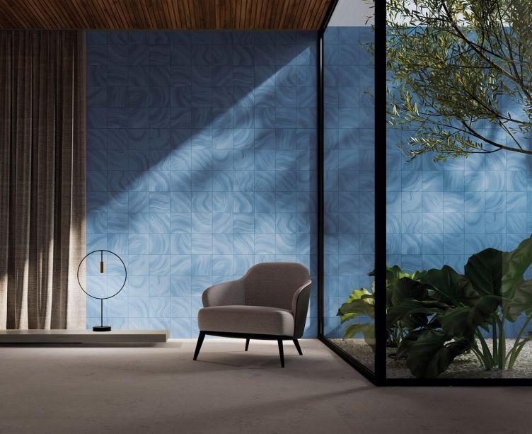 Portinari: com o nome inspirado na cidade de Cannes, a coleção se destaca por um conceito artístico causado por pinceladas largas e onduladas em movimentos orgânicos em degradê de tons de azul, ideais para um clima praiano.