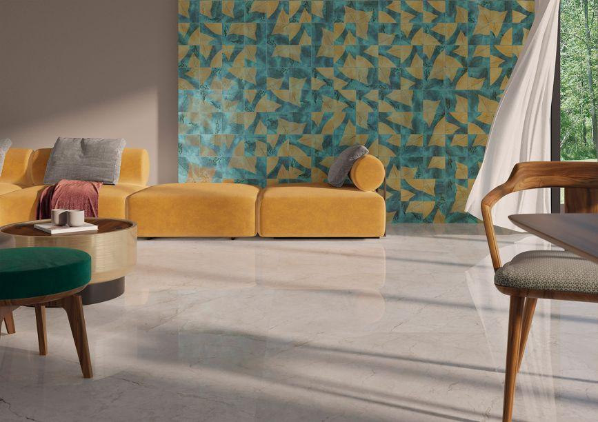 Ceusa: a Botânica Glam mistura os traços da vegetação natural com o glamour do ouro. O toque artesanal imperfeito insere texturas em superfícies ricas em detalhes.