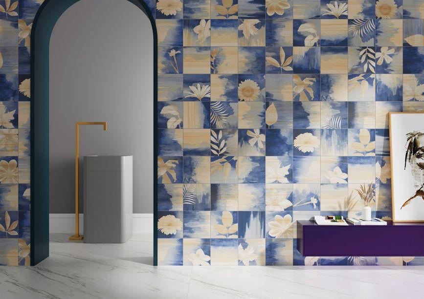 Ceusa: com uma peça decorada, a coleção Denim traz a mistura do jeans tingido, a madeira e o decalque com folhas. É inspirada no tie dye dos anos 1960.