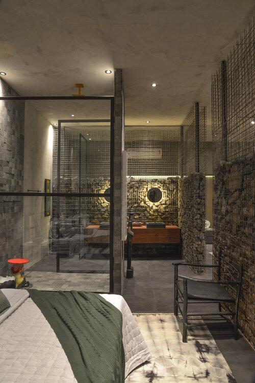 loft grabbo guel arquitetos casacor brasília 2019 brutalismo pedras rústico decoração banheiro