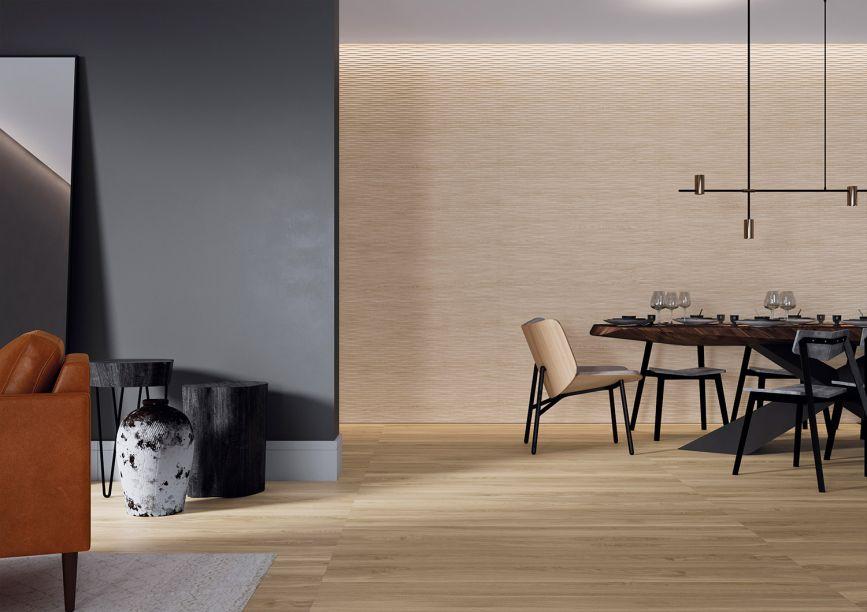 Portinari: inspirada na madeira, a coleção Nidus – Ninho no latim – aquece os espaços contribuindo para a sensação de bem-estar. São porcelanatos em formato de régua alongada, com nós que dão movimento e naturalidade para as paginações.