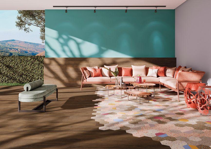 Ceusa: inspirada na madeira de peroba envelhecida, as peças da coleção Passarela realçam o formato de régua alongada (26 x 160 cm), que contam com variações de tons.