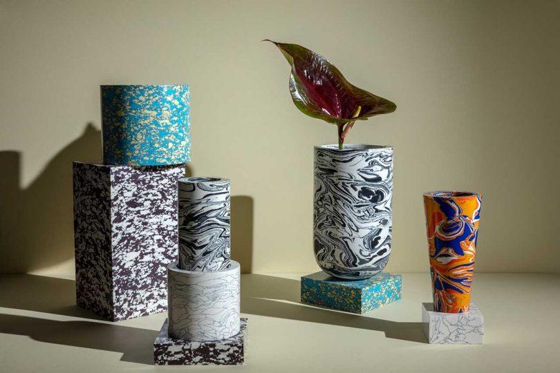 tom dixon design coleção mármore vasos