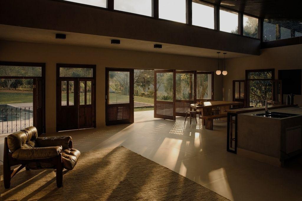 integracao de ambientes sala e sala de jantar fazenda rios