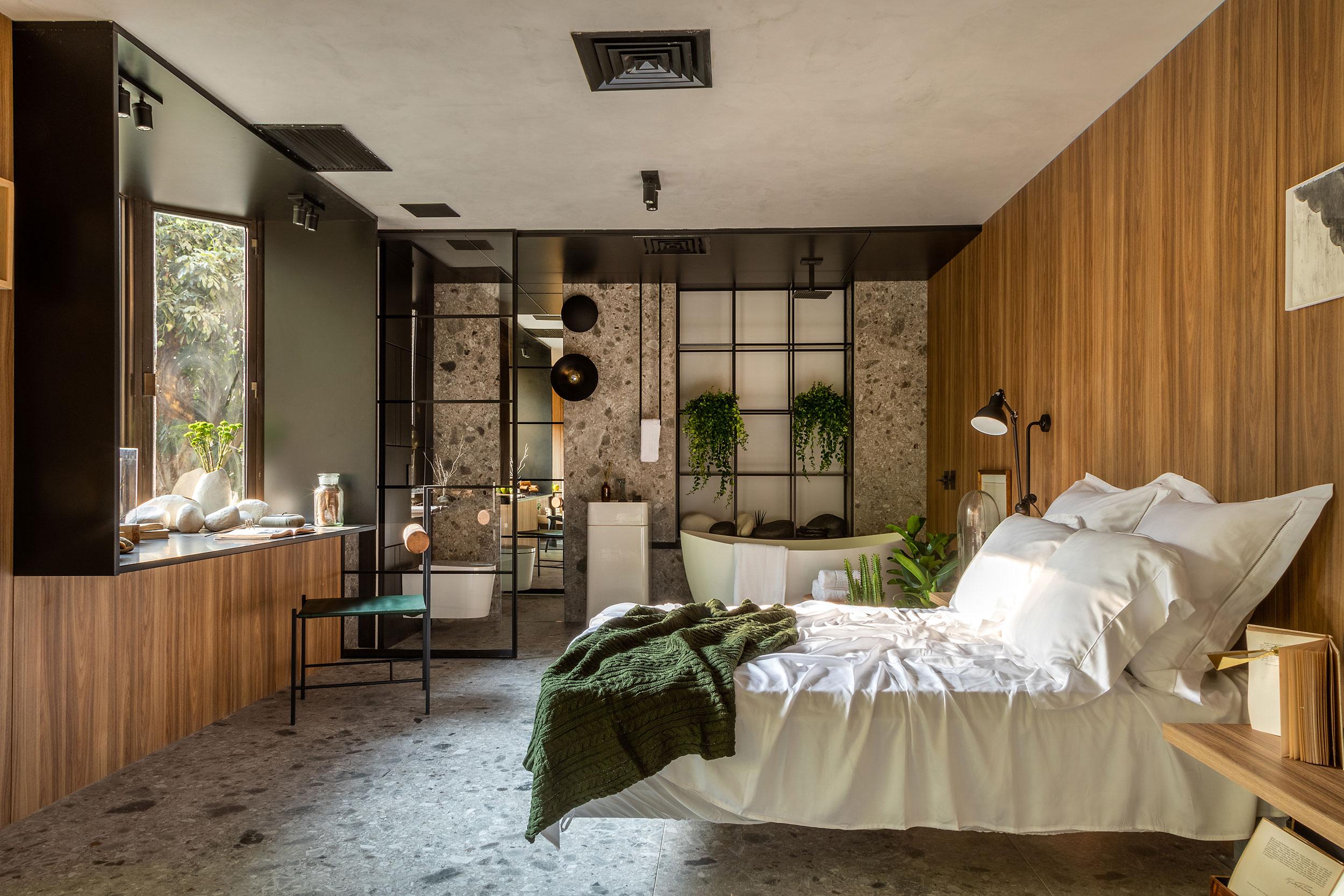 studio neo casacor rio de janeiro 2018 granilite piso granilite terrazzo painel granilite casacor decoração ambiente suíte