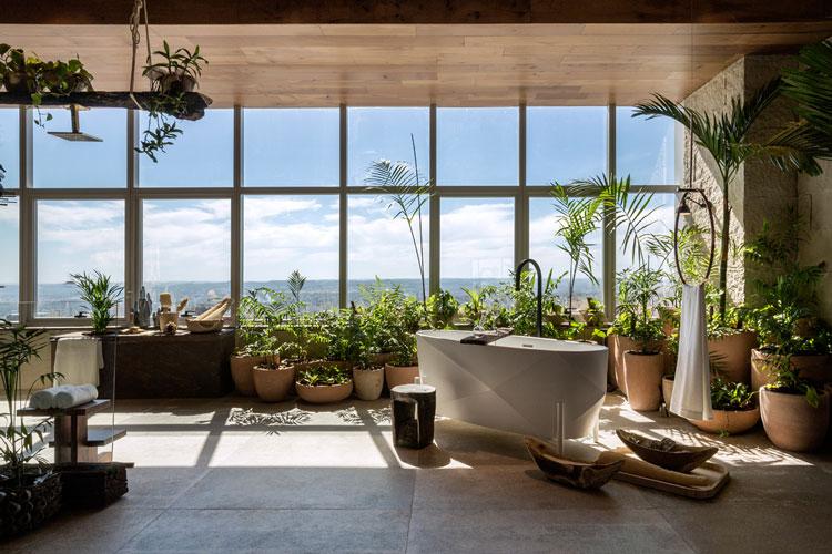 sala de banho W Leão Ogawa e Heitor Arrais casacor goiás 2018 jardim de vasos vaso de cerâmica banheira decoração