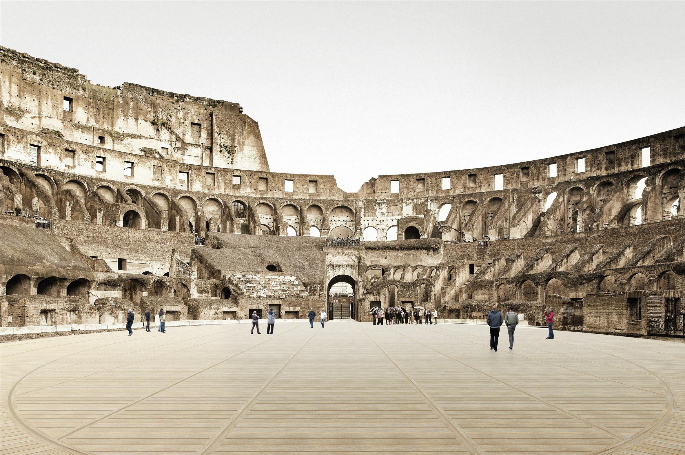 coliseu arena anfiteatro piso retratil restauracao render