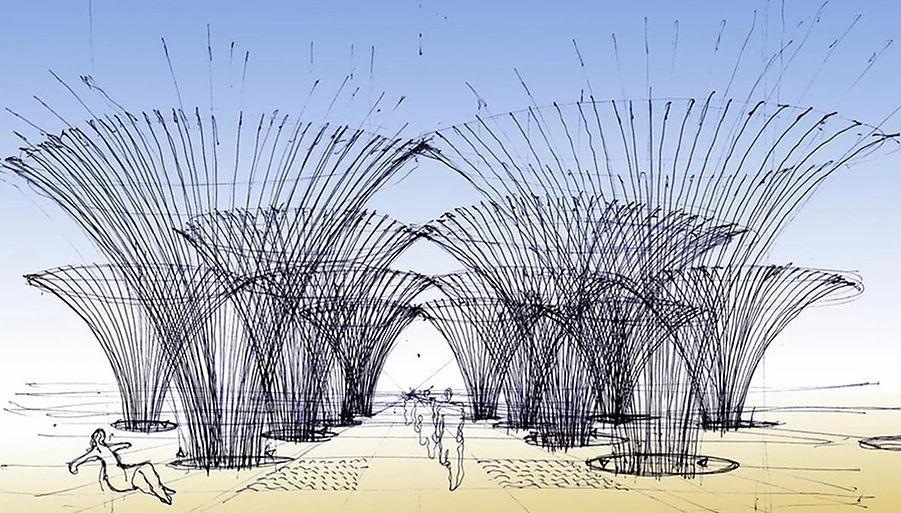 croqui de projeto no Panamá. Estruturas em bambu