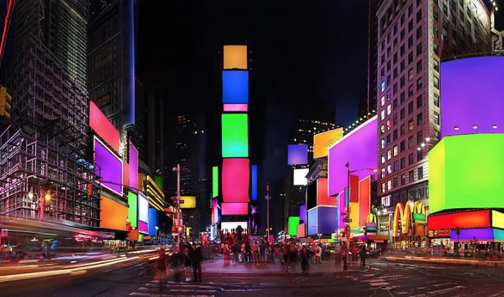 instalação nova iorque times square cores arte monumento diversidade cosimo scotucci