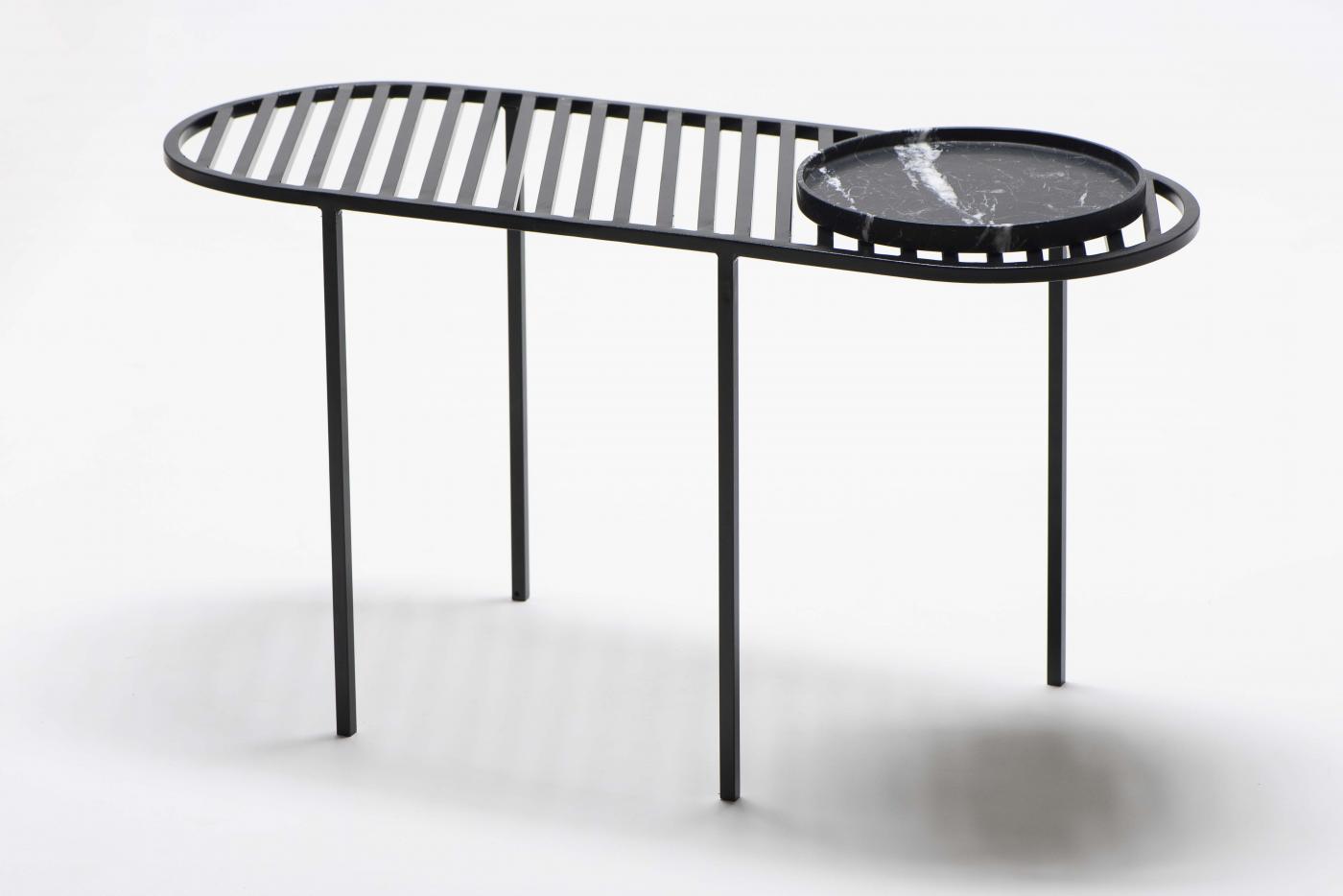 studio roca design mesa lateral grelha com bandeja preta