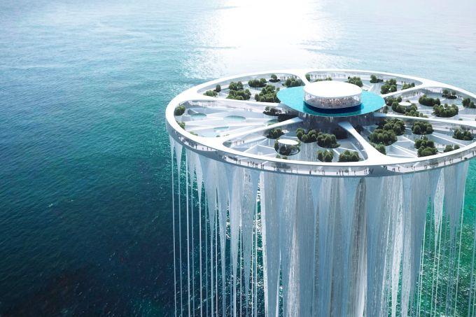 """Sou Fujimoto projeta uma """"ilha flutuante"""" sobre o mar de Shenzhen, na China"""