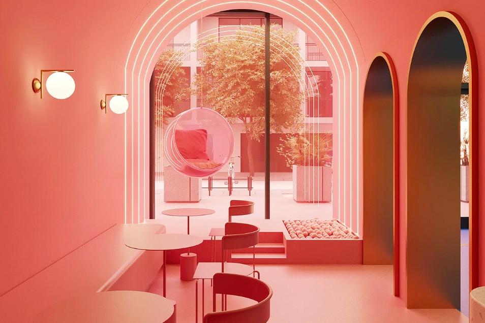 cloud and co qatar doha sorveteira cores paleta de cores rosa instagramavel