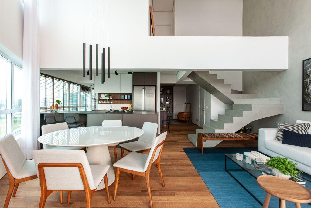 Sala de jantar integrada apartamento contemporâneo