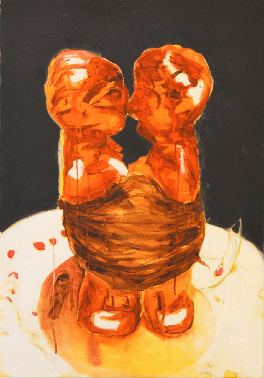 Pintura acrílica sobre tela Amarração (à esq.), de Moisés Patrício
