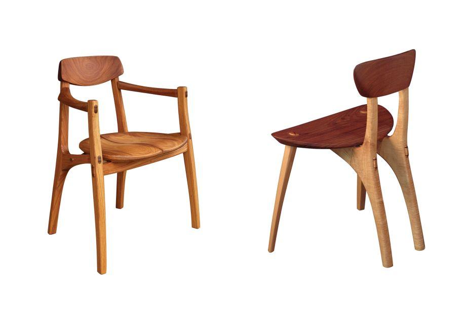 Morito Ebine, Cadeira Duo (à esquerda) e Cadeira Folha (direita).